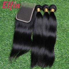 【14A 3pcs+closure】14A Peruvian Straight 3 Bundles & Lace Closure Free Shipping