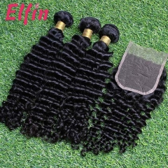 【14A 3pcs+closure】14A Peruvian Deep Curly 3 Bundles & Lace Closure Free Shipping