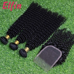 【14A 3pcs+closure】14A Peruvian Kinky Curly 3 Bundles & Lace Closure Free Shipping