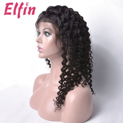 Elfin 7A Super Grade 150% Density  Lace Frontal Wig Deep Wave Long Wigs Virgin Human Hair Free Shipping Can Be Customized