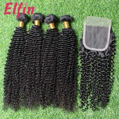 【14A 3pcs+closure】14A Brazilian Kinky Curly 3 Bundles & Lace Closure Free Shipping