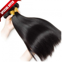 【Special Offer】3PCS 7A Peruvian Straight Wave Hair 100% Human Virgin Hair Extensions Natural 1B Color Free Shipping