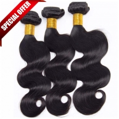 【Special Offer】3PCS 7A Brazilian Body Wave Hair 100% Human Virgin Hair Extensions Natural Color Free Shipping