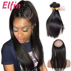 Elfin Brazilian Straight Virgin Hair 360 Lace Frontal Pre-Plucked 4pcs/lot