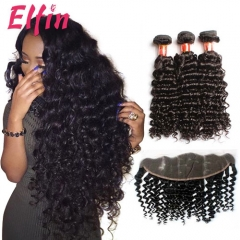 13A Deep Curly Brazilian Virgin Hair 3 Bundles 13*4 Lace Frontal Closure With Baby Hair