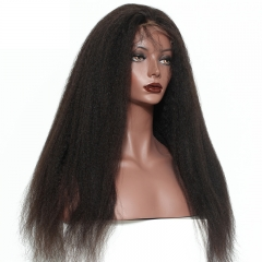 Elfin 7A 150% Density Lace Frontal Wig Kinky Straight Soft Weave Long Wigs Virgin Human Hair Super Grade  Free Shipping Can Be Customized
