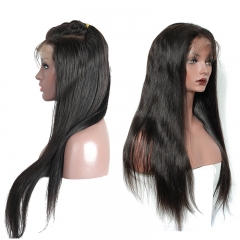 Elfin 7A 150% Density Straight Lace Frontal Straight Wig Human Virgin Hair Free Shipping
