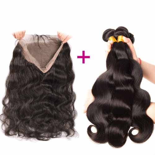 360 Body Wave Lace Closure Pre-Plucked With 2 Bundles Elfin hair