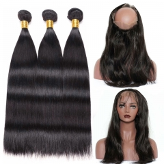 【3+1 PC】13A Malaysia Straight Wave 360 Lace Frontal  With Bundles  360 Frontal Closure Free Shipping