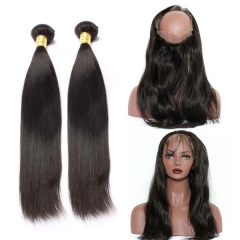 Elfin 360 Lace Frontal Closure With 2 Bundles Silky Straight Human Virgin Hair Natural Black 1B