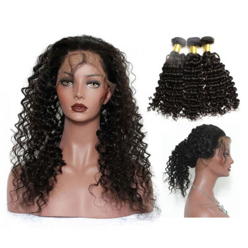 13A Brazilian Deep Wave 360 Lace Frontal  With Bundles 3+1 PC 360 Frontal Closure Free Shipping