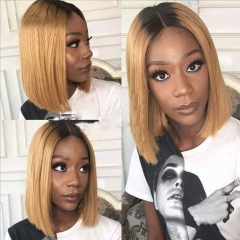 Customize Wig 9 Days! #1b-27 Bob Ombre Straight Wig Lace Frontal Wig Human Virgin Hair Super Grade 150% Density