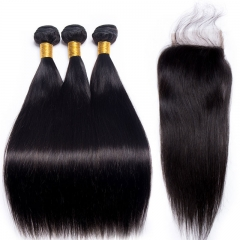 13A Peruvian Straight 3 Bundles With PrePlucked 4x4 Closure Natural Black Virgin Hair Extensions
