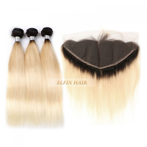 Customize in 7 days!【Frontal + 3 Bundles】Elfin Best Russian T1B/#613 Straight Ombre Ear To Ear Lace Frontal Blonde Hair With 13*4 Lace Frontal
