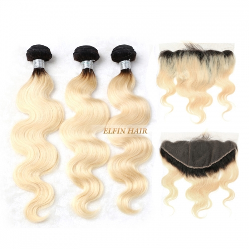 【Frontal + 3 Bundles】Elfin Best Russian T1B/#613 body Ombre Blonde Hair With 13*4 Lace Frontal Ear To Ear Big Closure Customize time 7 days