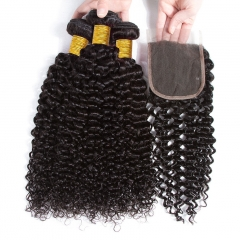 13A Virgin Hair Brazilian Curly 3 Bundles+ 1Pc Lace Closure Free Shipping