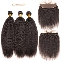 13A Brazilian Kinky Straight Virgin Hair 3 Bundles 13*4 Lace Frontal With Baby Hair