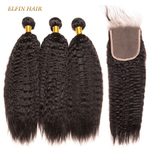 13A Virgin Hair Kinky straight 3 Bundles+ 1Pc Lace Closure Free Shipping