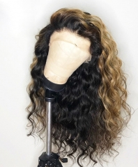 【New Arrival 15 Customize Days】Elfin 13A 150% Mix Color Density Lace Frontal Loose curly Wig Human Virgin Hair