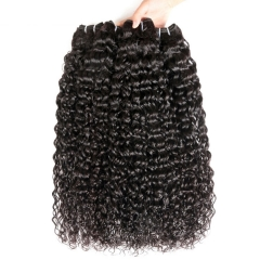 13A  Italy Curly Hair Weave 3 Bundles With PrePlucked 4x4 Closure Natural Black Virgin Hair Extensions