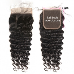 【Customize in 7 days】12A 8-20 Inch #1b 5x5 Lace Closure Brazilian Curly Virgin(Free Part, Middle Part & Three Part )