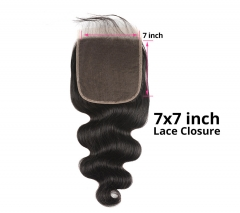 【Customize in 7 days】12A 8-20 Inch #1b 7x7 Lace Closure Brazilian Body wave Virgin(Free Part, Middle Part & Three Part )