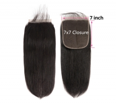 【Customize in 7 days】12A 8-20 Inch #1b 7x7 Lace Closure Brazilian Straight Virgin(Free Part, Middle Part & Three Part )