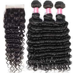 12A 【3PCS+ closure】Brazilian Deep Wave Unprocessed Virgin Hair With 1PC Lace Closure Free Shipping