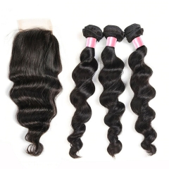 12A 【3PCS+ closure】Brazilian Loose Wave Unprocessed Virgin Hair With 1PC Lace Closure Free Shipping