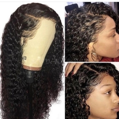 Elfin Deep Wave Preplucked 13*6 Lace Frontal Wig Natural Black Virgin Hair 10-24inch Customize in 7 working days