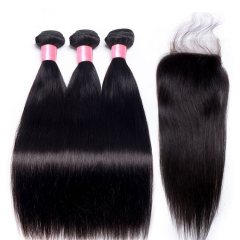 12A 【3PCS+ closure】Malaysian Straight Hair Unprocessed Virgin Hair With 1PC Lace Closure Free Shipping