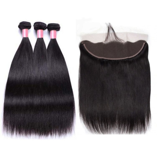 12A 【3PCS+ HD Frontal】Brazilian Straight Hair Unprocessed Virgin Hair With 1PC Thin Lace Closure Free Shipping