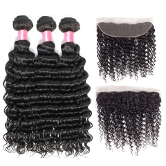 12A 【3PCS+ Frontal】Brazilian Deep Wave Hair Unprocessed Virgin Hair With 1PC Lace Closure Free Shipping