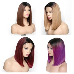 Ombre Hair 13x6 Bob Lace Wig Lace Frontal Wig 150% Density 8-14inch Straight Human Virgin Hair