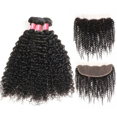 12A 【3PCS+ Frontal】Brazilian Deep Curly Hair Unprocessed Virgin Hair With 1PC Lace Closure Free Shipping