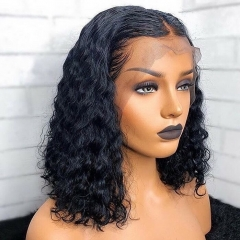 13x4 Curly Bob Lace Frontal Wig 180% Thick-full Human Hair Pre-plucked Lace Wig