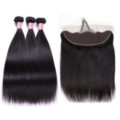12A 【3PCS+ Frontal】Malaysian Straight Hair Unprocessed Virgin Hair With 1PC Lace Closure Free Shipping