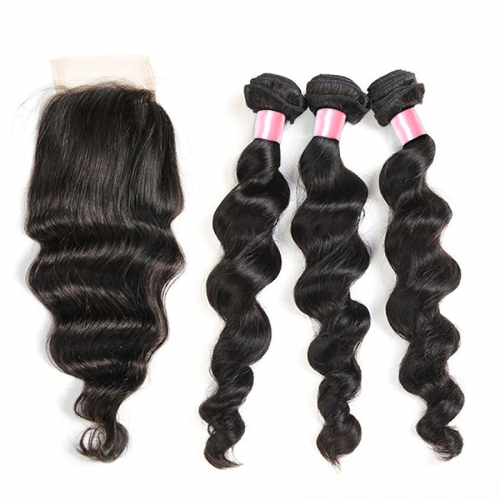 12A 【3PCS+ closure】Malaysian Loose Wave Unprocessed Virgin Hair With 1PC Lace Closure Free Shipping