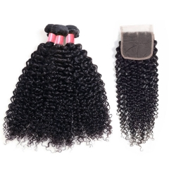 12A 【3PCS+ closure】Peruvian Deep Curly Unprocessed Virgin Hair With 1PC Lace Closure Free Shipping