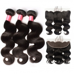 12A 【3PCS+ Frontal】Malaysian Body Wave Unprocessed Virgin Hair With 1PC Lace Frontal Closure Free Shipping