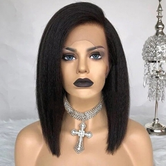 13A Preplucked & Bleached Knots & Baby Hair Kinky Straight 13x6 bob Lace Frontal Wig 180% density Lace Wig