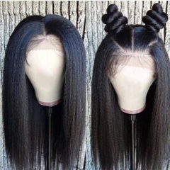 Elfin Kinky Straight Preplucked 13*6 Lace Frontal Wig Natural Black Virgin Hair 10-22inch Customize in 7 working days