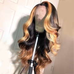 New Arrival! Highlight Honey Blonde 13*6 Ombre Color Body wave Lace Frontal Wig 150% Density Natural Black Virgin Hair
