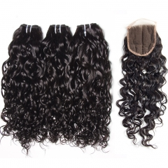 12A 【3PCS+ closure】Peruvian Italy Curl Unprocessed Virgin Hair With 1PC Lace Closure Free Shipping