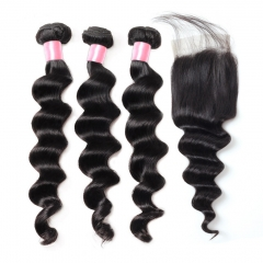 12A 【3PCS+ closure】Brazilian Loose deep wave Hair Unprocessed Virgin Hair With 1PC Lace Closure Free Shipping