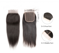 12A HD Transparent Invisible Thin Lace Closure #1b 5x5 Lace Closure Brazilian Virgin Hair(Free Part, Middle Part & Three Part )