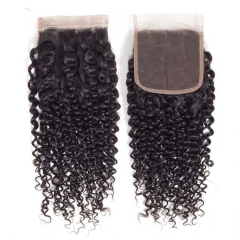 12A 【1PC Closure】deep curly #1b 4*4 Lace Closure 8-20 Inch Virgin Wave Hair(Free Part, Middle Part & Three Part )
