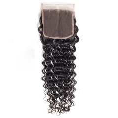 12A 【1PC Closure】 Deep wave #1b 4*4 Lace Closure 8-20 Inch Virgin Wave Hair(Free Part, Middle Part & Three Part )