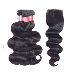 12A 【3PCS+ HD Invisible 5x5 Lace closure】Malaysian Body Wave Hair Unprocessed Virgin Hair With 1PC HD Lace Thin Lace Closure Free Shipping