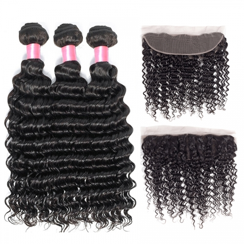 12A 【3PCS+ Frontal】Peruvian Deep Wave Hair Unprocessed Virgin Hair With 1PC Lace Closure Free Shipping
